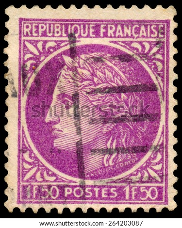 """FRANCE - CIRCA 1945: Stamp printed in France, shows Ceres, from the series """"Ceres"""", circa 1945 - stock photo"""