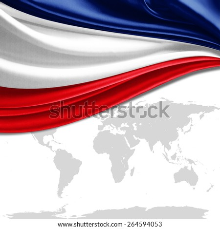 France flag and world map background - stock photo