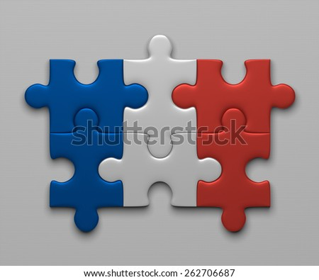 France flag assembled of puzzle pieces on gray background - stock photo