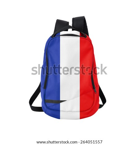 France flag backpack isolated on white background. Back to school concept. Education and study abroad. Travel and tourism in France - stock photo