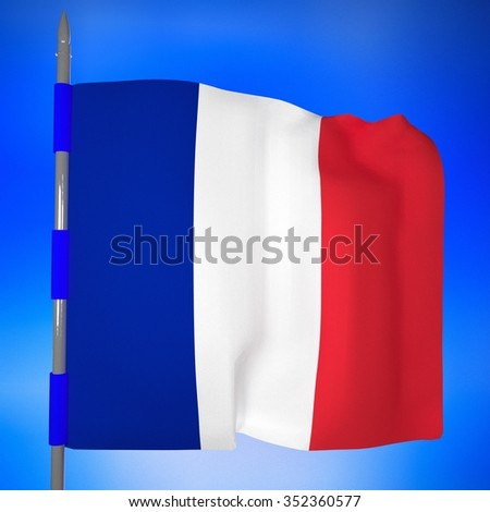France flag in blue sky, 3d render, square image - stock photo