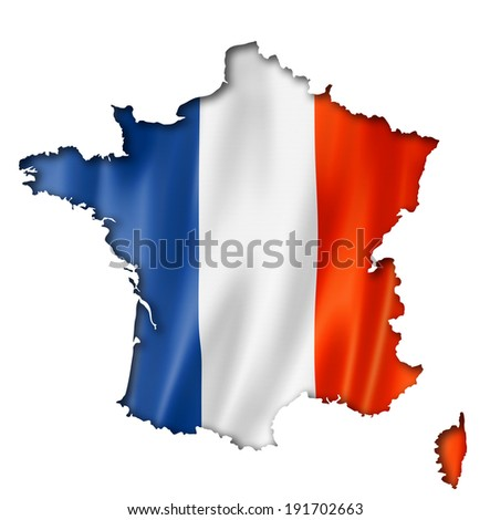 France flag map, three dimensional render, isolated on white - stock photo