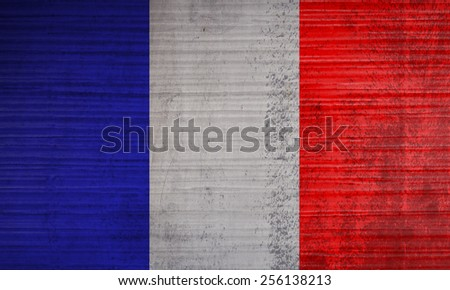 France flag on grunge wall background - stock photo
