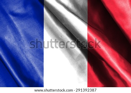 France flag on soft and smooth silk texture - stock photo
