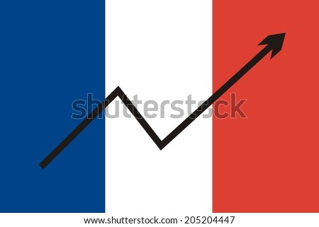 France flag with economic rising graph  - stock photo