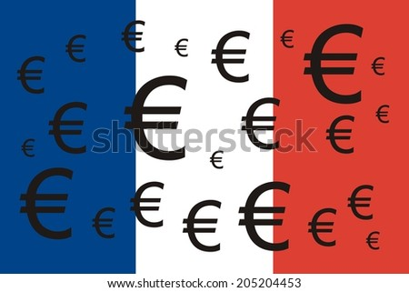 France flag with Euro symbols  - stock photo
