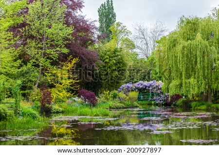 France Giverny Monet's garden spring May - stock photo