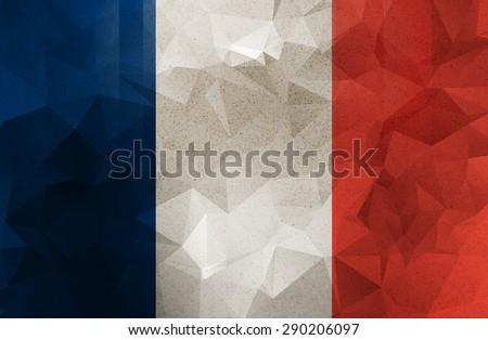 France grunge flag. Vintage, retro style. low polygon texture.  - stock photo