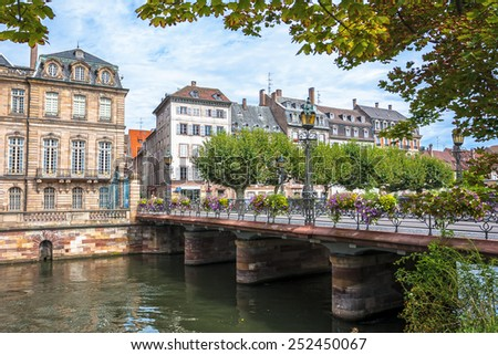 France, historic houses and bridges in the district of La Petite France in Strasbourg - stock photo