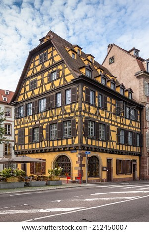 France, historic houses in the district of La Petite France in Strasbourg - stock photo