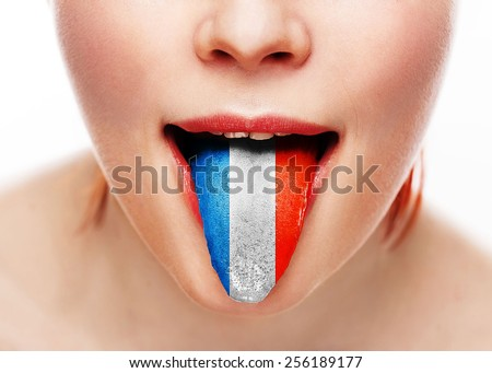 France language tongue woman face with open mouth - stock photo