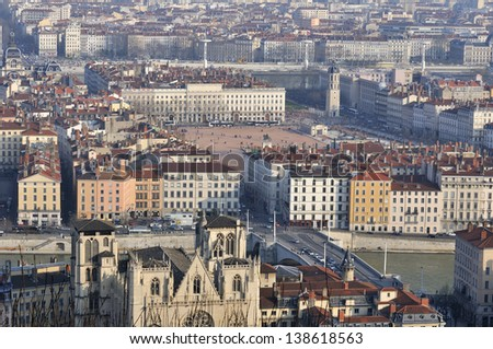 France, Lyon, city panoramic view in winter - stock photo