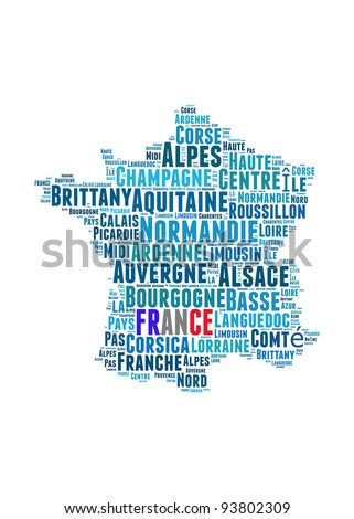 France map and words cloud with larger cities - stock photo