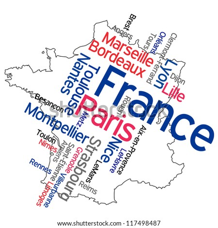 France map and words cloud with larger cities; vector version is also available - stock photo