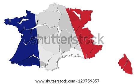 France map cracked, conceptual representation of national crisis - stock photo