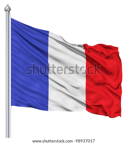 France national flag waving in the wind - stock photo