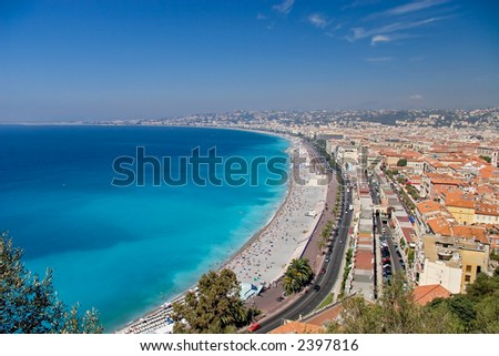 France, Nice. Sunny day. View on the beach. - stock photo