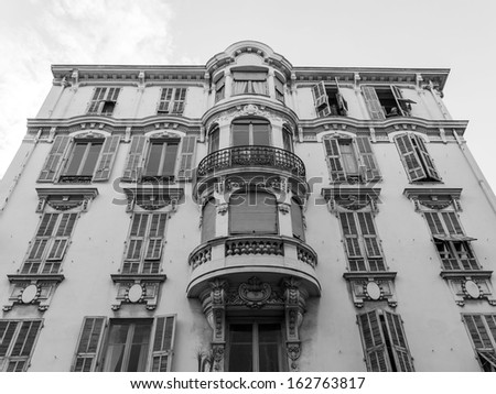 France , Nice. Typical architectural details of the facades of historic buildings (XIX-XX century) Nice - one of the resorts of the Co´te d'Azur France - stock photo