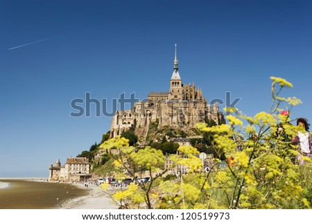 France, Normandy, Mont Saint-Michel, on a bright sunny summer day - stock photo