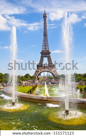 FRANCE - PARIS - 15 AUGUST 2013 - Tour Eiffel view from the square of the trocadero - stock photo