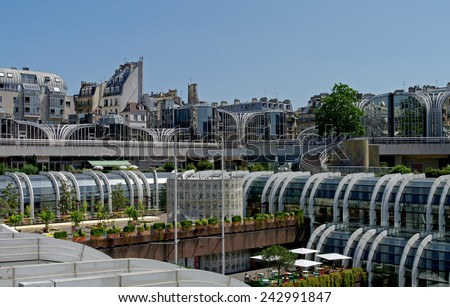 France, Paris, Les Halles place. The old view of a shopping mall built on the place of middle-age marketplace, now this area is fully reconstructed.  - stock photo