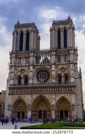 FRANCE, PARIS September, 17.2014: Visitors and tourist in Notre Dame - stock photo