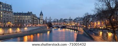 France Paris - view from Pont Neuf bridge at night - stock photo