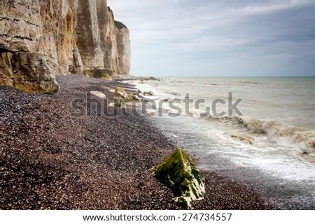 France, Pas de Calais, Cote d'Opale, Parc naturel regional des Caps et Marais d'Opale, Cap Blanc Nez, limestone cliffs - stock photo