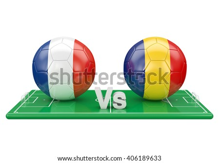 France / Romania soccer game over soccer field 3d illustration - stock photo