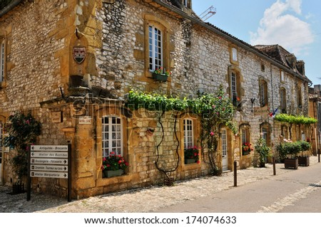France, the city hall of Monpazier in Perigord - stock photo