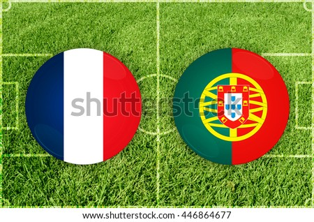 France vs Portugal icons at football field background - stock photo