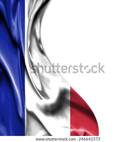France waving silky flag isolated on white background - stock photo