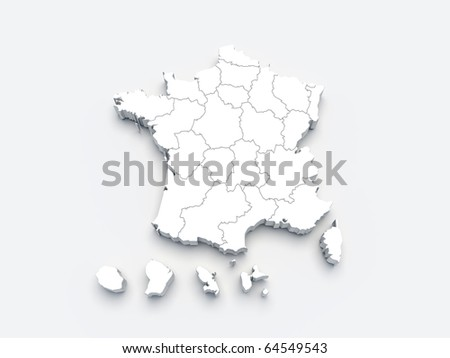 France white map 3D on gray isolated - stock photo