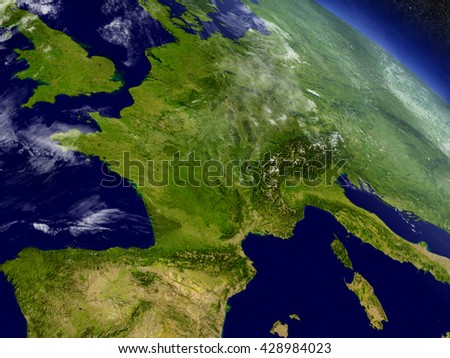 France with surrounding region as seen from Earth's orbit in space. 3D illustration with highly detailed planet surface and clouds in the atmosphere. Elements of this image furnished by NASA. - stock photo