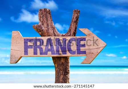 France wooden sign with beach background - stock photo