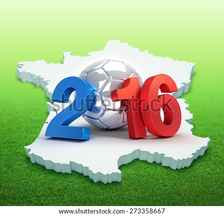 France 2016, year illustrated with a silver soccer ball, on french map and grass field - stock photo
