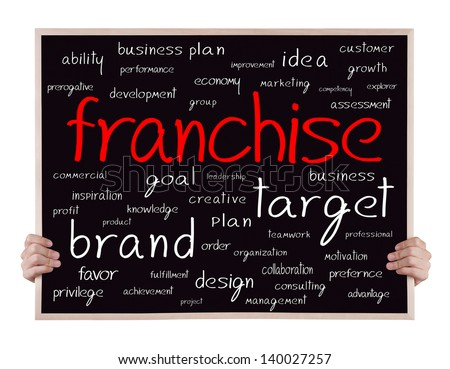franchise and other related words handwritten on blackboard with hands - stock photo