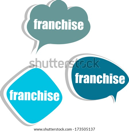 franchise. Set of stickers, labels, tags. Template for infographics, business - stock photo