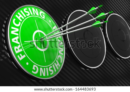 Franchising Concept. Three Arrows Hitting the Center of Green Target on Black Background. - stock photo
