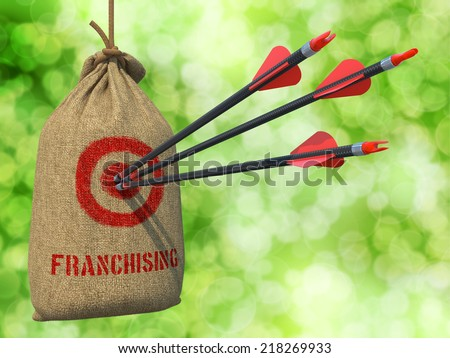 Franchising - Three Arrows Hit in Red Target on a Hanging Sack on Green Bokeh Background. - stock photo