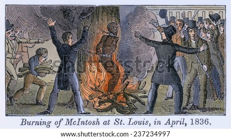 Francis L McIntosh a free mulatto boatman killed St. Louis's deputy sheriff, George Hammond, while resisting arrest. Illustrations of the Antislavery Almanac for 1840. - stock photo