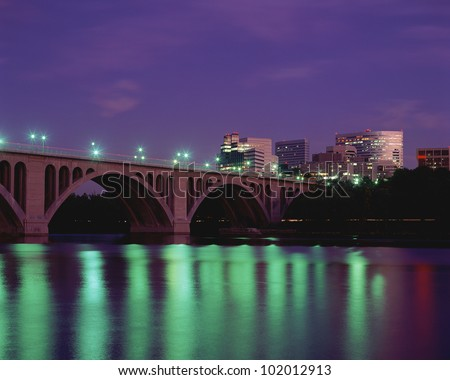 Francis Scott Key Bridge crossing the Potomac River - stock photo