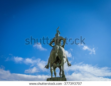 Francisco Pizarro statue in Trujillo, Caceres - stock photo