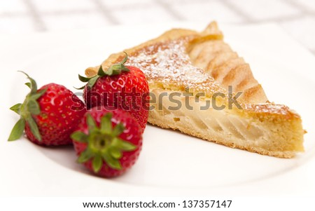 Frangipane cake with strawberries - stock photo
