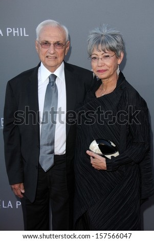 Frank Gehry and wife Berta Gehry at the Walt Disney Concert Hall 10th Anniversary Celebration, Walt Disney Concert Hall, Los Angeles, CA 09-30-13 - stock photo