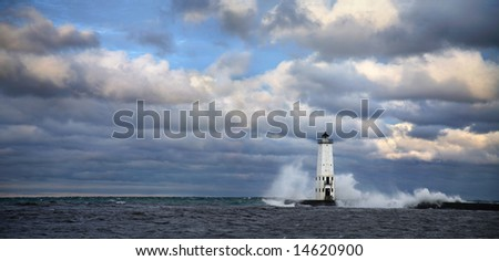 Frankfort North Breakwater Light, Michigan - stock photo