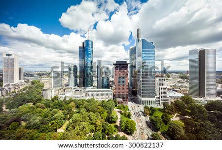 Frankfurt aerial cityscape panorama of the skyscrapers in downtown - stock photo