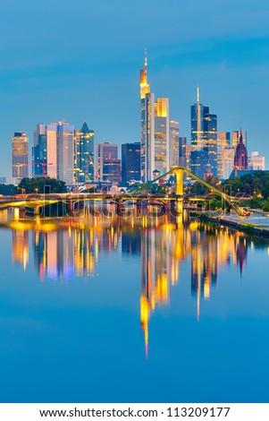 Frankfurt after sunset, Germany - stock photo
