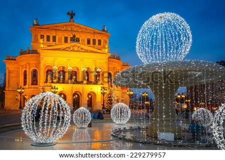 Frankfurt Alte Oper at Cristmastime, Germany - stock photo