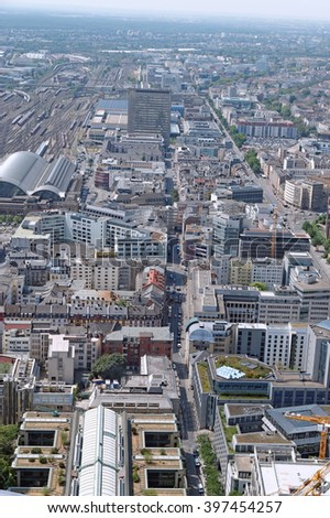 FRANKFURT AM MAIN, GERMANY - AUGUST 6, 2015: Aerial view of the central business district from the observatory deck of the Mian tower. Frankfurt is the largest financial centre in continental Europe. - stock photo